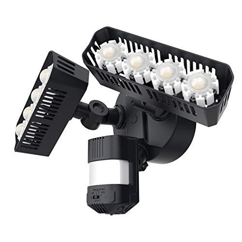 SANSI 36W LED Strahler mit Bewegungsmelder Außen, 3600lm, 5000K Tageslichtweiß LED Sicherheitslicht, Superhell LED Außenleuchte mit Bewegungsmelder, IP65 Wasserdichtes Einstellbar Flutlicht, Schwarz