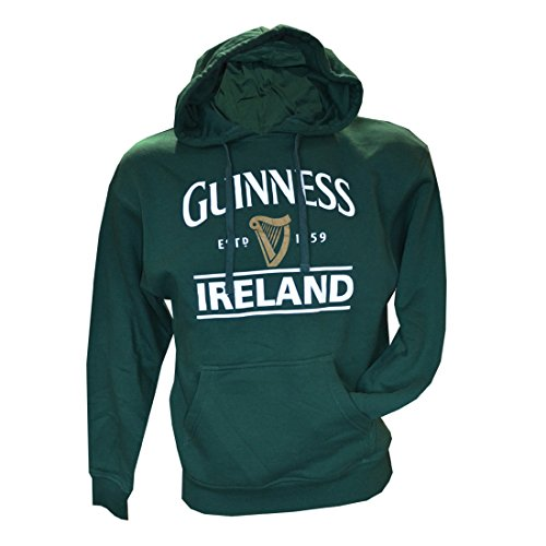 Guinness Pullover Hoodie With Guinness Logo & Ireland Print, Forest Green Colour