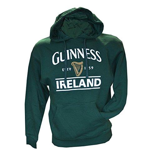 Guinness Pullover Hoody mit Guinness Logo & Irland Print, Wald Grün, XL