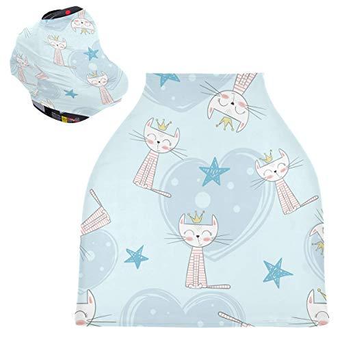 Sinestour Fundas para asiento de coche de bebé con diseño de gatitos de animales de dibujos animados, cubierta para carrito de la compra, toldo multiusos para el asiento de coche, para mamás y bebés