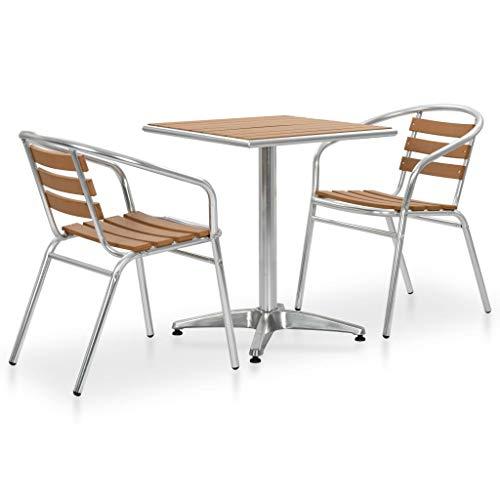 vidaXL Set de Mesa y Sillas de Jardín 3 Piezas Aluminio y WPC Plateado Conjunto Muebles Mobiliario de Exterior Terraza Patio Porche Piscina Casa Hogar