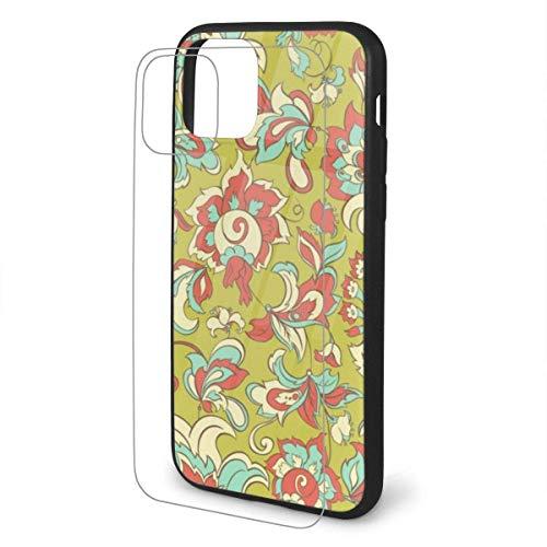 Fundas de diseño de Moda DIY Novedad para iPhone 11 / Pro/Pro MAX con Funda Protectora de TPU Suave y Flexible Cubierta de Vidrio Transparente Templado - Patrón Floral sin Costuras (82)