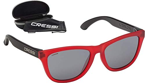 Cressi Leblon Sunglasses Gafas de Sol Deportivas con Estuche Rígido, Adultos Unisex, Rojo/Negro-Lentes Ahumadas, Un Tamaño