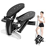 Merpin Stepper,Hometrainer Stepper,Stepper up-Down,Swing Stepper con Resistencia Ajustable y computadora de Entrenamiento, Máquina de Step Mini Stepper con Pantalla Multifuncional (whiteblack)