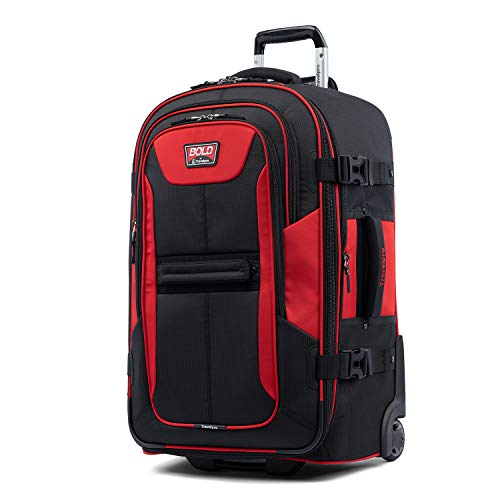 Travelpro Bold-Softside Expandable Rollaboard Upright Luggage, Red, Checked-Medium 25-Inch