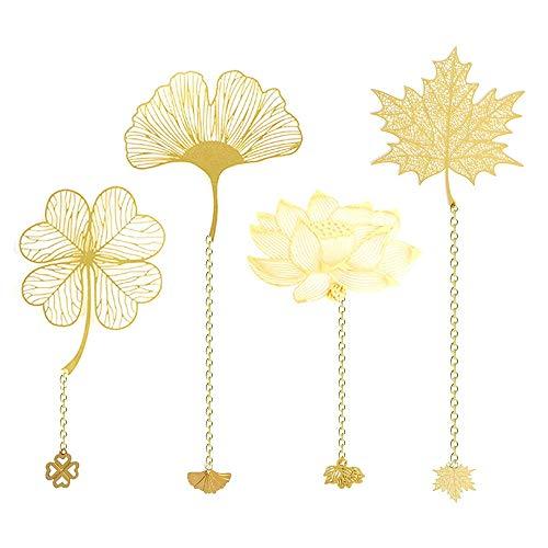 Migimi - Segnalibri in metallo stile cinese a forma di foglia, segnalibro classico in metallo, segnalibro a forma di fiore, segnalibro con fiore di loto