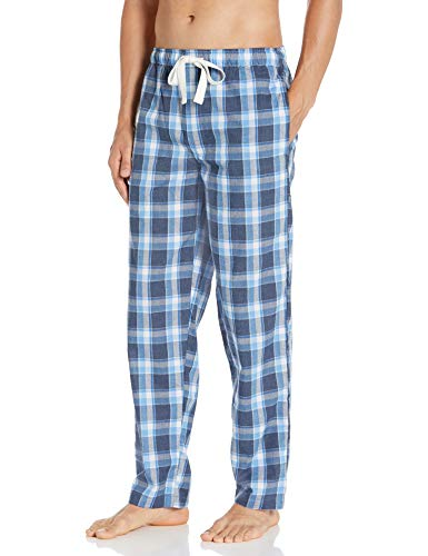 IZOD Men's Plaid Print Relaxed Fit Poplin Drawstring Sleep Pant, Navy, Large