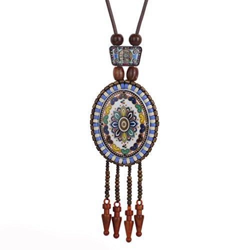YAZILIND Frauen Retro Indian Ethnic Boho Statement Keramik Kaffee Perlen Quaste Anhänger Halskette Geschenk-Ideen