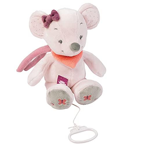 Nattou Mini Peluche Musicale Souris Valentine, Adèle et Valentine, 21 x 12 x 8 cm, Gris/Rose
