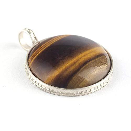 Colgante Ojo de Tigre y Plata de Ley redondo color marrón ocre de tamaño 21x21x6 milímetros