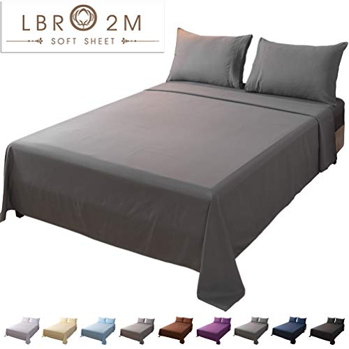 LBRO2M Bed Sheet Set Queen Size 16 Inches Deep Pocket 1800 Thread Count 100% Microfiber Sheet,Bedding Super Soft Hypoallergenic Breathable,Resistant Fade Wrinkle Cool Warm,4 Piece(Dark Grey)