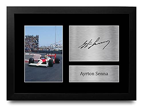 HWC Trading FR A4 Ayrton Senna Formula 1 Los Regalos Imprimieron La Imagen Firmada del Autógrafo para Los Fanáticos De Las Carreras De La Fórmula 1 De F1 - A4 Framed