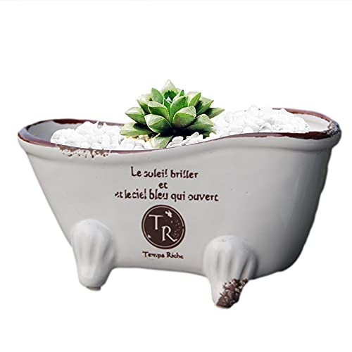 cobalt planet 陶器鉢 多肉植物 サボテン鉢 フラワーポット プランター容器 底穴 (猫足バスタブ)