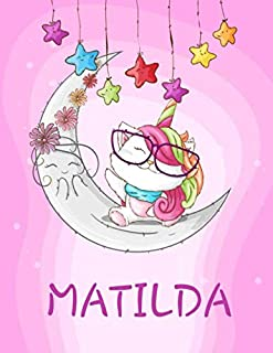 """MATILDA: Personalized Caticorn Sketchbook For Girls With Purple Name (120 Pages, Size 8.5"""" x 11"""")"""