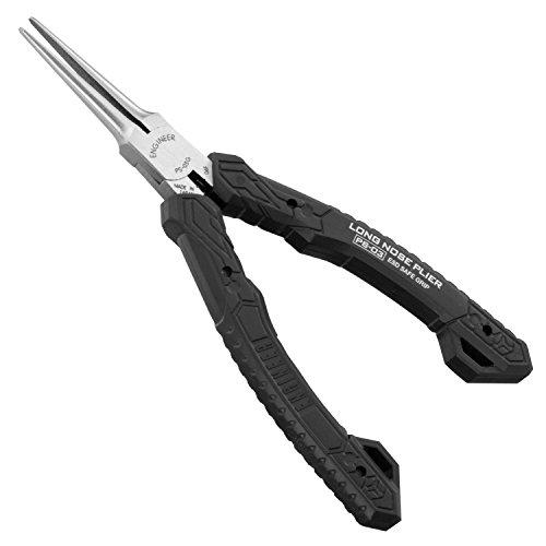 Alicates compactos de punta larga compactos de precisión (punta de aguja), grado profesional, seguro ESD con mandíbulas de acero al carbono