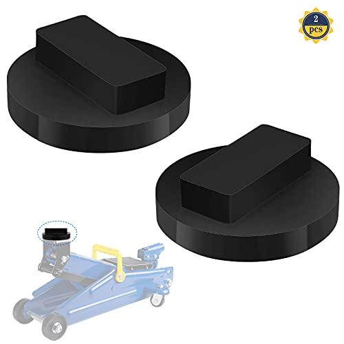 2 Piezas Adaptador de Goma para Gato Almohadilla de Goma Gato Jack Pad Bloque de Soporte de Goma para Elevadores Goma Gato Hidráulico para Proteger la Base del Coche(Negro)