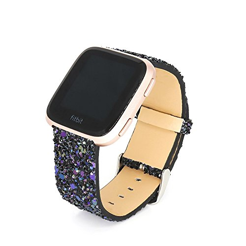 KuToo Replacement for Fitbit Versa Bands/Versa Lite Bands/Versa SE Bands, Leather Flash Glitter Bling Band Wristband Strap Replacement Accessory Band for Fitbit Versa//Versa 2 (3D Glitter Black)