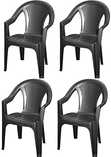 Fair-Shopping Gartenstuhl Bistro-Balkon-Stuhl Rattan-Stuhl Outdoor 4er Set Kunststoff Schwarz 0260