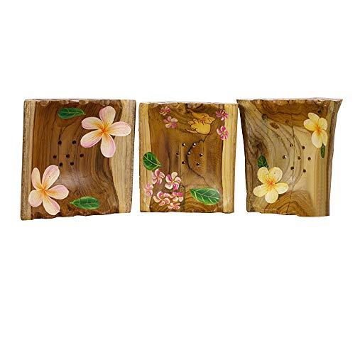 YIREAUD Seifenschalen-Halter, natürliches Holz, kreatives bemaltes Muster, für Zuhause, Küche, Badewanne, Waschbecken, Zubehör