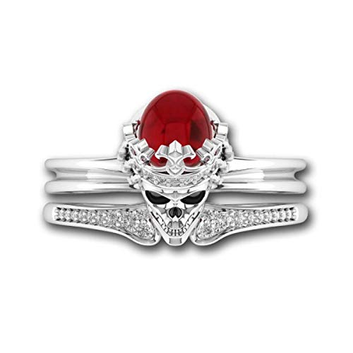 Cast & Crafts 1.00 Carat Oval Cut Red Ruby & Cubic Zirconia Women's Skull Gothic Bridal Engagement Ring Set (5.5)