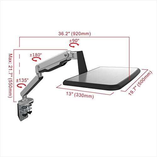 Loctek Standing Mount Sit Stand Arm Workstation Gas Spring Laptop Mount Stand for 10