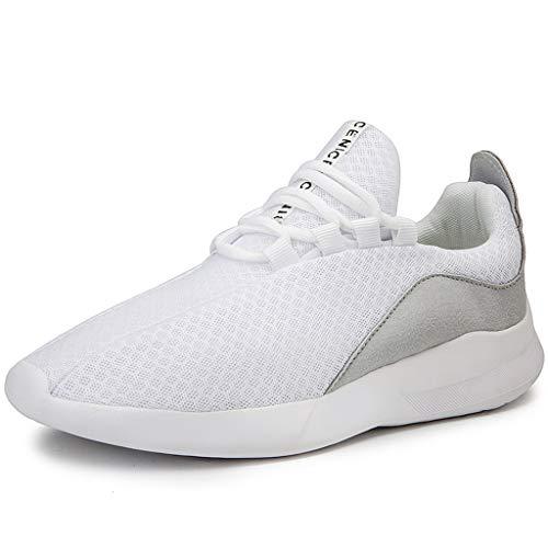 jfhrfged Hommes Mode Baskets de Outdoor Confort Respirant Doux Maille à Lacets Légère Antidérapantes Flats Chaussures de Course Sport Running (41, Blanc)