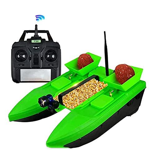 Olaffi Barcos Cebador,RC Barco Cebador Pesca,Papelera de Cebo luz LED Control Remoto de Control Remoto Barco de Pesca 500m Control Remoto Dual Motor,1.5 Kg De Carga Asistida Pesca Herramienta