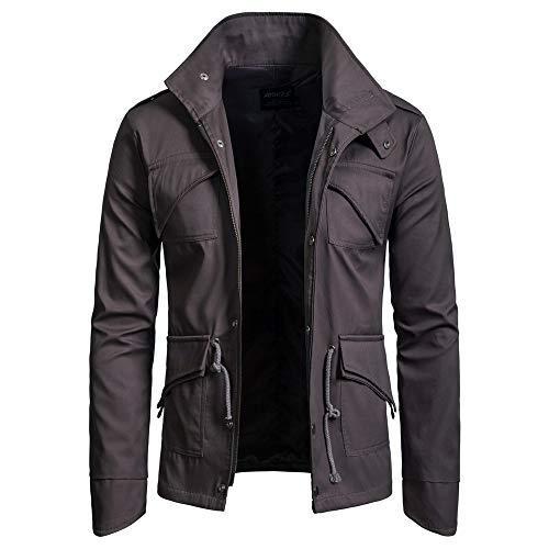ZIYOU Herren Basic Jacke, Männer Outwear Stehkragen Slim fit Militär Jacke mit Reißverschluss Freizeit Übergangs Mäntel (EU-48 /...