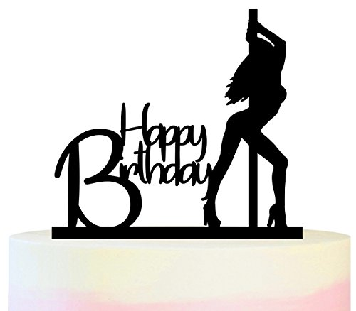 TC0049 Happy Birthday Sexy Pole Dance Girl Party Wedding Birthday Acrylic Cake Topper Cupcake Toppers Decor Set 11 pcs