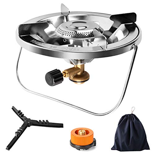 Odoland Camping Stove with Fuel Can Stabilizer, Portable Bottle Top Gas Stove Adjustable Burner with Gas Tank Adapter for Camping Gas Tanks, Perfect for Backpacking, Outdoor Cooking
