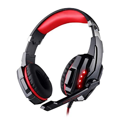 QCSMegy Auriculares de juego, 7,1 canales Cancelación de ruido con luces LED de micrófono con cable auricular para auriculares Espuma + Caja de proteínas Tazas de orejas Giro a gran escala, para compu
