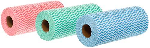BRANDSSELLER Wischtücher auf 3 Rollen mit Gesamt 150 Putztüchern - Mehrfarbig-Rot/Blau/Grün