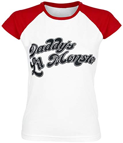 Officially Licensed Merchandise Suicide Squad Daddy´s Lil Monster Baseball Girly Tee (White/Red), Small