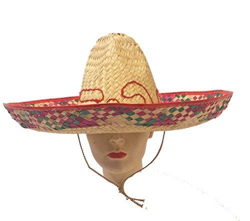 Henbrandt Chapeau de paille fabriqué au Mexique Sombrero Bandit - Rouge - taille unique