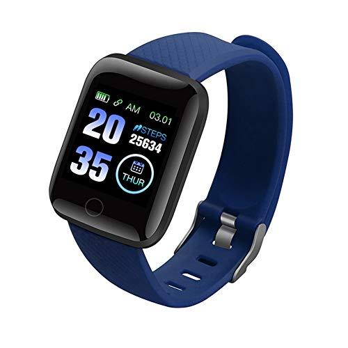 FENGCHUANG Reloj inteligente con pantalla a color 116plus, multifuncional, resistente al agua, con calorías, control del sueño, presión arterial y funciones de monitoreo de frecuencia cardíaca.