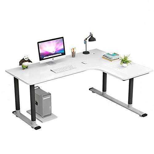 YJTGZ L-Form Eckschreibtisch Winkelschreibtisch Computertisch BüRotisch Arbeitstisch, Aus Holz Und Stahl, Erweitern Sie Den Desktop Rundes BeinverstäRkungsdesign Einfacher Moderner Schreibtisch(A)