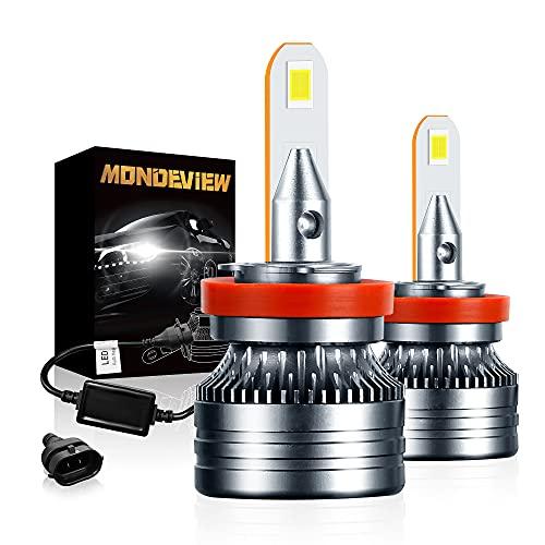 MONDEVIEW Bombillas H11 Faro LED H9 Luz Antiniebla H8 6000K 60W 16000LM, 24 Chips LED CREE Lámpara H16 1: 1 Diseño Más de 400% brillo que Luz Halógena y Faro de Xenón, IP68, 9V-36V, 360°