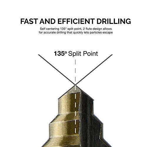Neiko 10193A Titanium Step Drill Bit Set, High Speed Steel   3-Piece Set   Total 28 Sizes