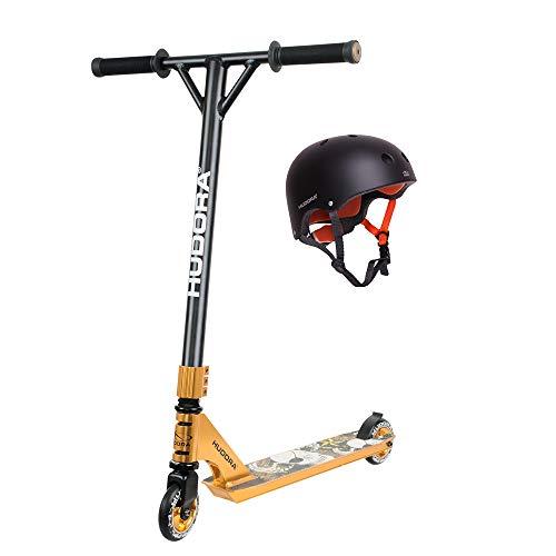 HUDORA 20219, schwarz/Gold Stunt XR-25, Freestyle Scooter Roller, inkl. Skaterhelm anthrazit in Gr. 56-60
