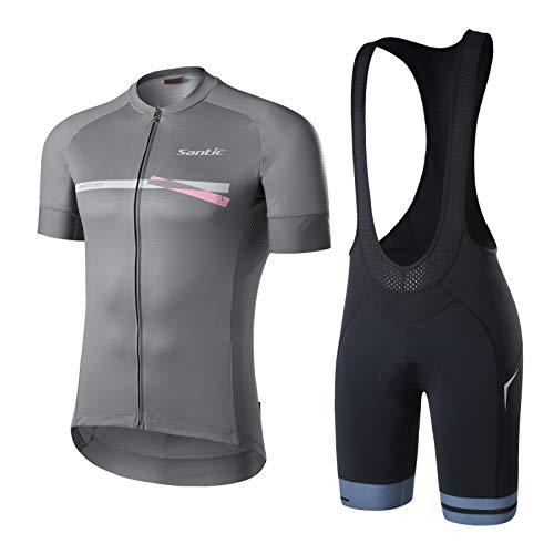 Santic Abbigliamento Ciclismo Uomo Maglia Manica Corta Pantaloncini Ciclismo Set Complet per Uomo Grigio EU XXL