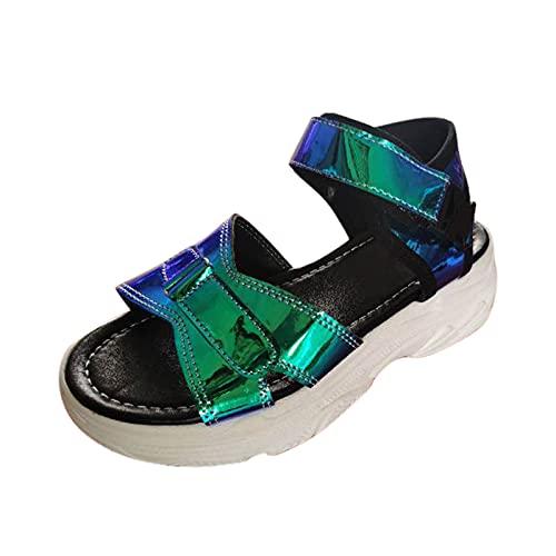 Damen Sandalen Plateausandalen Plateauschuhe Flache Platform Slingback Peep Toe Sommer Sandals Freizeitschuhe(1-Blau/Blue,38) 484