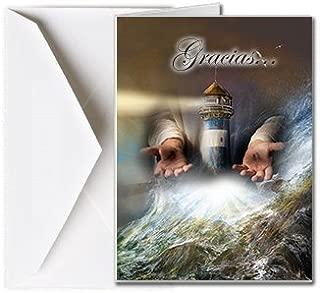 Tarjetas Funerales de Agradecimiento, Tarjetas de Gratitud, Tarjetas de Gracias (25 Cantidad) FTKC1150ES El Faro de Dios (En Blanco - Impreso por usted)