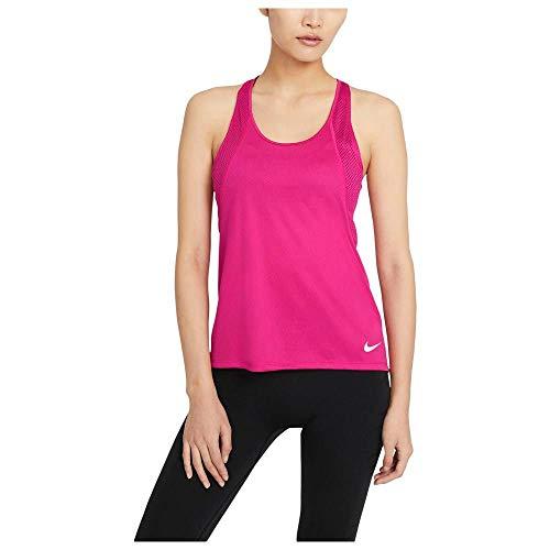 NIKE Camiseta de Running para Mujer, Color Rojo y Plateado Reflectante