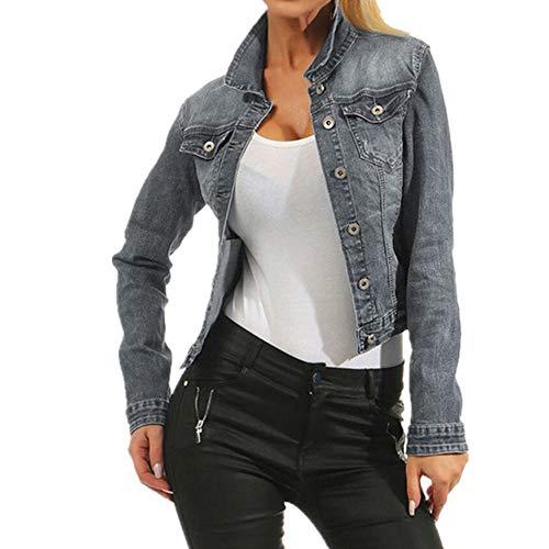 Jeans Chaqueta Mujer Chaqueta Slim Stretch Sexy Slim Ripped Mujeres Abrigo Otoño Casual
