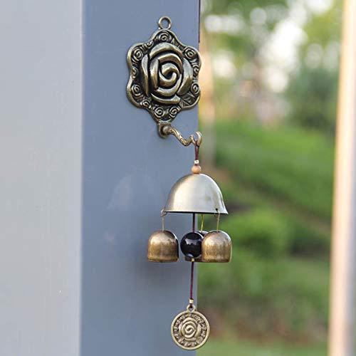 XXHDEE Rose huis muurbehang brons drie bel metaal zelfaanzuigend Feng Shui windspel deurbel decoratie windspel 25x6x2,6 cm gietijzer deurbel