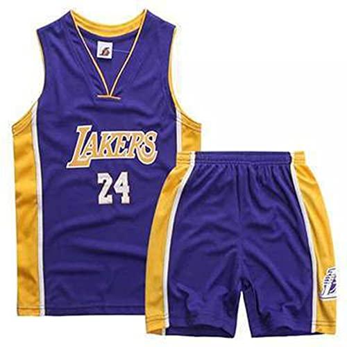 QJJ Camiseta De Baloncesto Kobe Bryant N. ° 24, Juego De Uniforme De Baloncesto Clásico De Los Lakers, Camiseta De Swingman Bordada para Hombre Purple-L