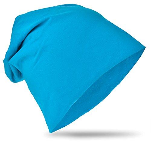 Baby Kinder Jersey Slouch Beanie Long Mütze Unisex Unifarbe Baumwolle Trend ,Farbe Lichtblau; Größe 48-53cm