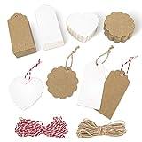 Etiquetas Kraft, 200 etiquetas de regalo, cuerda de 2x30 metros, etiquetas de regalo de boda en forma de corazón de 4X9cm, tarjetas artesanales etiquetas de equipaje para fiesta de Navidad