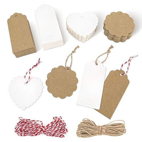 Etiquetas Kraft, 200 etiquetas de regalo, cuerda de 2x30 metros, etiquetas de regalo de boda en forma de corazón de 4X9cm,...