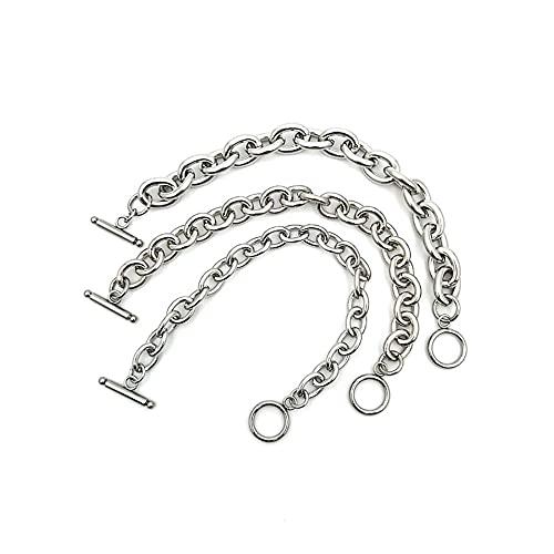 YFZCLYZAXET Bracciale Bracelet Donna Braccialetto Casuale di Modo Catena dell Acciaio Inossidabile Semplice Classico Popolare Braccialetto d Argento Chain-8Mm_16Cm